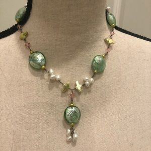 Green Glass and Faux Pearl Necklace and Earrings